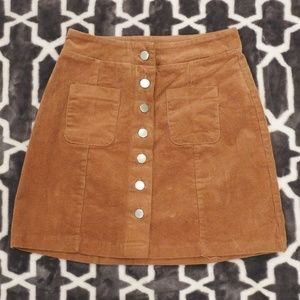 Brown Button-up Corduroy Skirt w/pockets